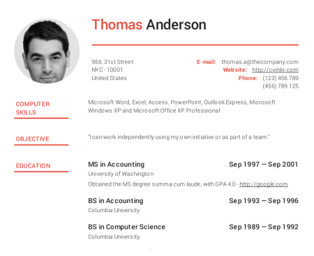 headline executive - Free Resume Template Online